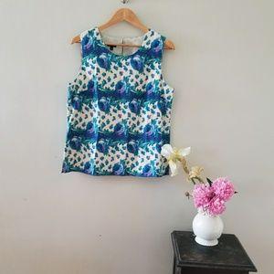 Blue Floral Talbots Silk Tank
